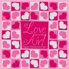 Funky mosaic love heart Valentine's Day card in vector format.