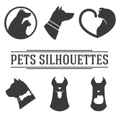 Vector pets silhouettes collection