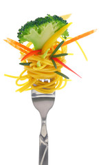Fresh colorful composition with pasta on fork, isolated on white