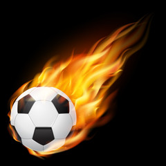 Flying soccer ball on fire - falling down