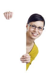 Smiling woman holding billboard