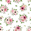 Seamless pattern with pink roses, lisianthus, anemone flowers