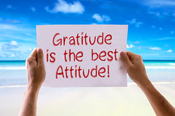 Gratitude is the Best Attitude card with beach background