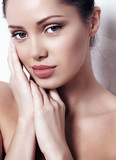 beautiful brunette woman with radiance health skin poster