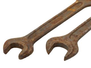 Alte rostige Maulschlüssel - Freisteller