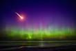 Falling comet and Aurora Borealis - 80578784
