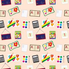 school accessories seamless pattern