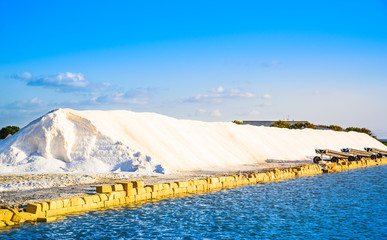 Trapani salt production, Sicily, Italy.Saline, salt pans.
