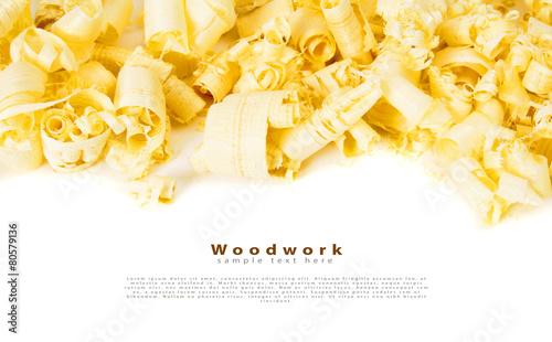Wooden shaving on white background. - 80579136