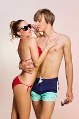 Couple wearing swimwear