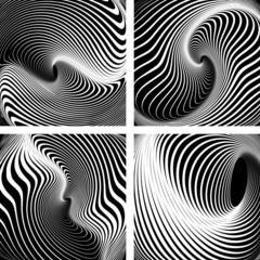 Whirlpool movement. Op art backdrops  set.