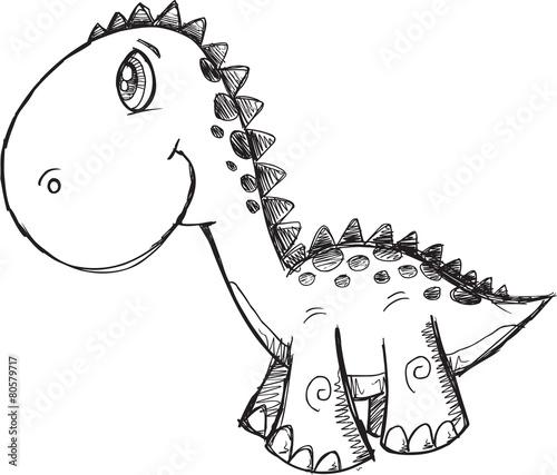 Sketch Doodle Dinosaur Vector Illustration Art - 80579717