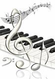 tanzende Noten mit Notenschlüssel und Klaviertastatur, freigest
