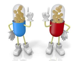 二人のカプセル薬キャラクター