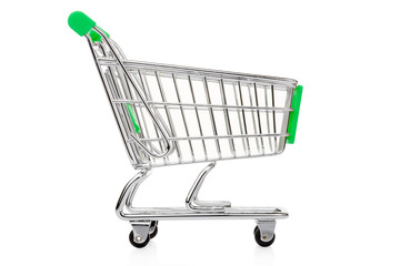 Green shopping cart on white, clipping path