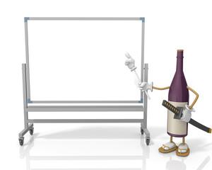 ホワイトボードと酒のキャラクター