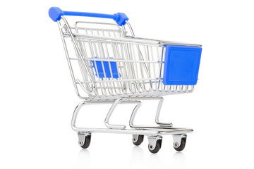 Blue shopping cart on white, clipping path