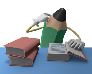 読書する鉛筆のキャラクター