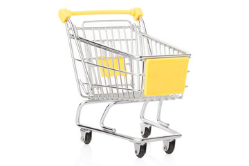 Yellow, small shopping cart on white, clipping path
