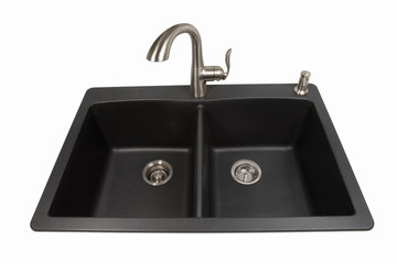 Granite Sink with Brushed Stainless Faucet