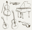 set of musical instruments drawings - 80581199
