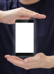 digitally created generic smartphone with blank screen presented