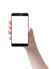 female teen hand holding generic smartphone digitally created