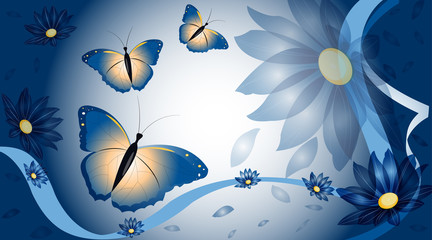 vector background with flowers and butterflies