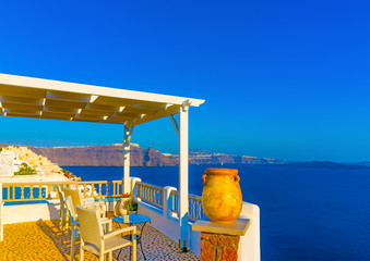 View from a terrace in Oia in Santorini island in Greece