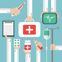 Medical Flat background with hand