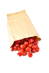 Candied dried cherry in paper bag