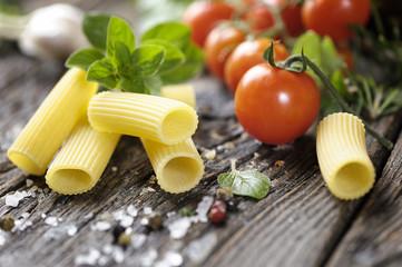 Raw tortiglioni pasta rigatoni