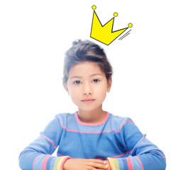 little girl with crown doodle over head