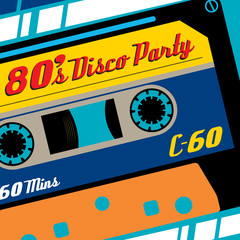 Eighties Disco Party Cassette Tape Banner.