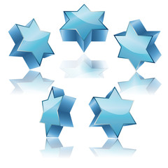 metallic 3d blue star of David with reflection set