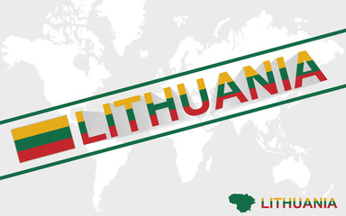 Lithuania map flag and text illustration