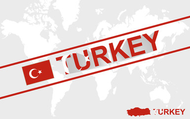 Turkey map flag and text illustration