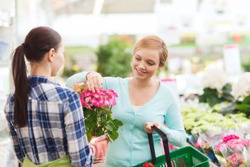 happy women choosing flowers in greenhouse