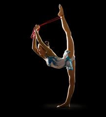 Young girl engaged art gymnastic