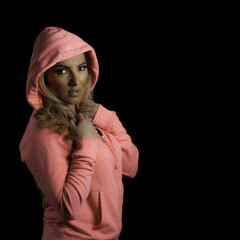 Blonde Athletic Girl Pink Hoodie Isolated Black Background