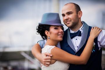 bride, hat, wedding, smile