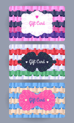 Discount cards with ruffles and frills set.