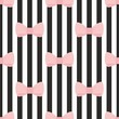 Tile vector pattern pink bow on black and white background