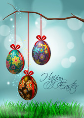 Easter Greeting Card with Hanging Eggs