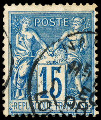 Stamp printed in France shows Athena and Hermes
