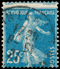 Stamp printed by France shows sowing