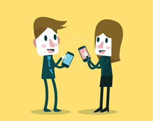 Businessman and woman sharing data with smartphone.