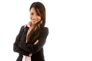 Portrait of asian businesswoman over white isolated background