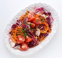 Fresh vegetable salad with radicchio