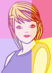 Portrait pop art d'une jeune fille.